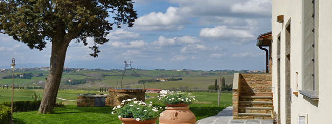 panoramic view over tuscan countryside