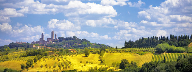 View from villa in Tuscany Italy