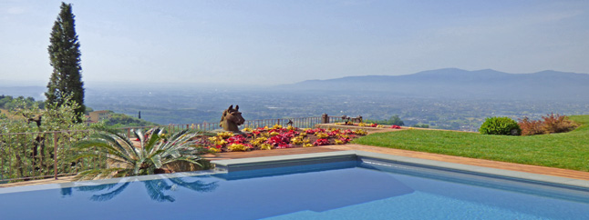 view from the pool in tuscany