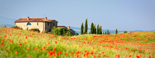 View of typical house in Tuscany