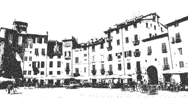 Old image of amphitheater square in Lucca